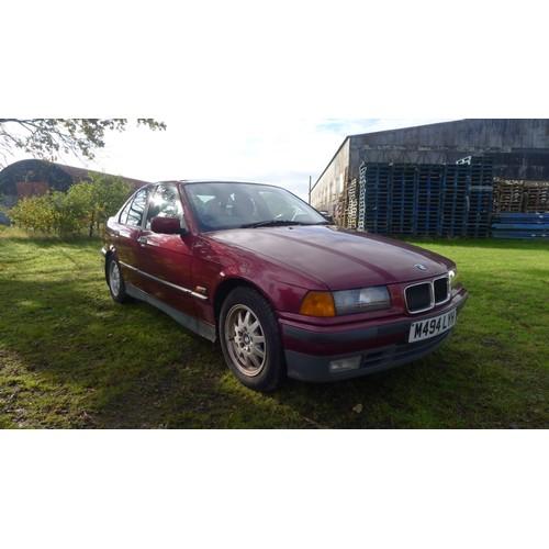 1006 - BMW  318i 4 dr saloon, 3 series, Reg M494 LYH, 1st reg 18/08/1994, 1790cc 5 sp Manual petrol, Red, M...