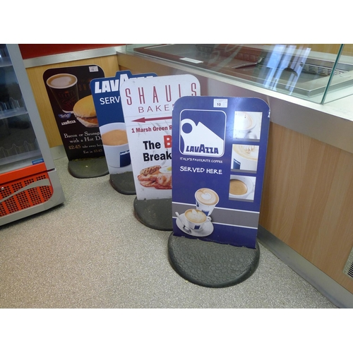 10 - 4 metal sign boards (preprinted graphics) with 4 rubber bases...