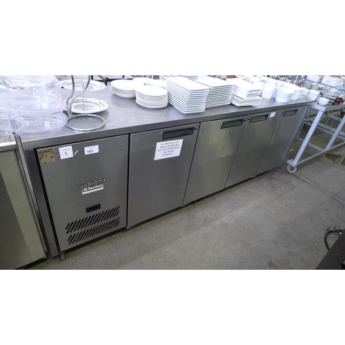 163 - A Williams stainless steel 4 door counter fridge 240v approx 235cm w x 65cm d x 85cm high (Trade)...