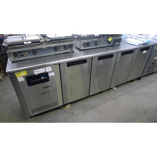 164 - A Foster stainless steel 4 door counter fridge 240v approx 232cm w x 71cm d x 85cm high (Trade)...