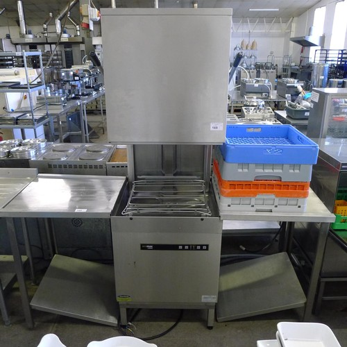 169 - 1 Hobart pass through glass / dish washer type EcoMax 602-12A, 3ph, YOM 2019 with 2 small stainless ...