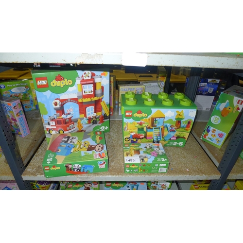 1493 - 4 x unused boxed sets of Lego Duplo, contents of 1 shelf...