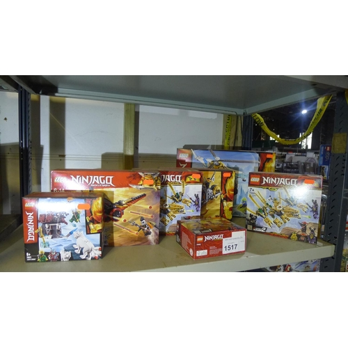 1517 - 7 x unused various sets of Lego Ninjago, contents of 1 shelf...