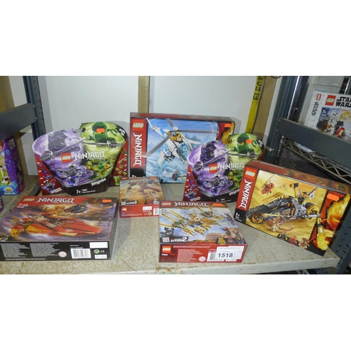 1518 - 7 x unused various sets of Lego Ninjago, contents of 1 shelf...