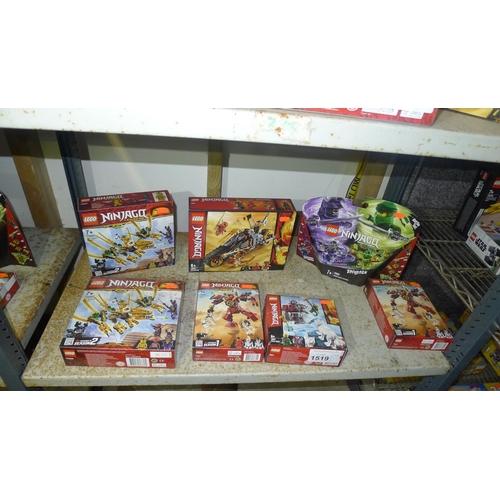 1519 - 7 x unused various sets of Lego Ninjago, contents of 1 shelf...