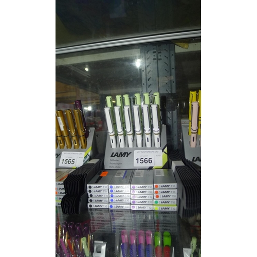 1566 - 12 x fountain pens (retail price £19 each) by Lamy 20 boxes of ink cartridges and 12 gift boxes...