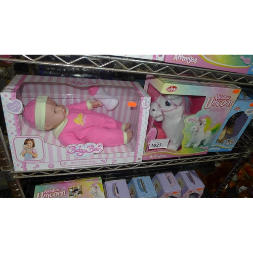 1623 - 1 x unused boxed Bedtime Baby Boo, rainbow unicorn and new born puppy...