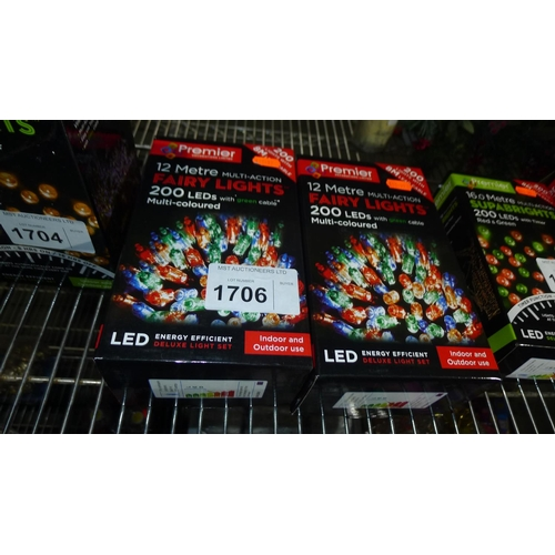 1706 - 2 boxes each containing 200 LED multi-coloured Christmas tree lights, 8m in length...