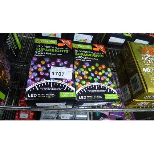 1707 - 2 boxes each containing 200 LED multi-coloured/rainbow Christmas tree lights, 8m in length...