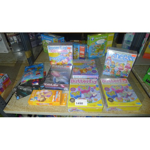 1490 - A quantity of various unused children's toys/gift items, contents of 2 shelves...