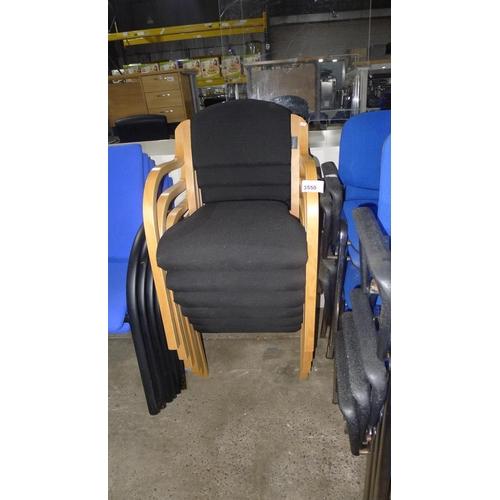 3550 - 5 black upholstered bent wood framed chairs...
