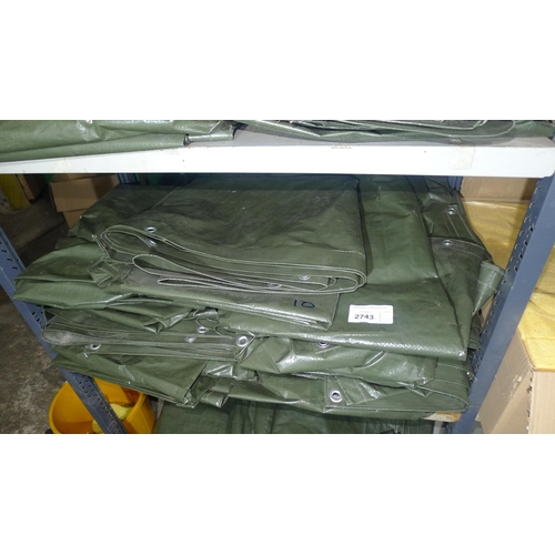 2743 - 10 x green tarpaulin type covers each approx 3.3m x 1.75m. Contents of 1 shelf...