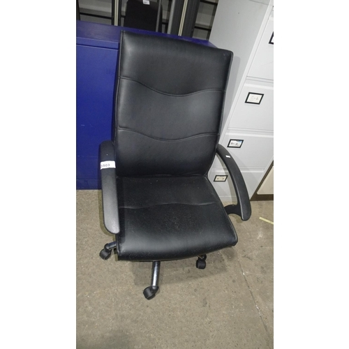 3503 - 1 black upholstered office swivel chair - possibly leather faced on seat / back, please check and sa...
