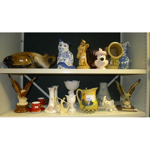 1035a - A quantity of miscellaneous jugs, ornaments, figures and chinaware etc (2 shelves)