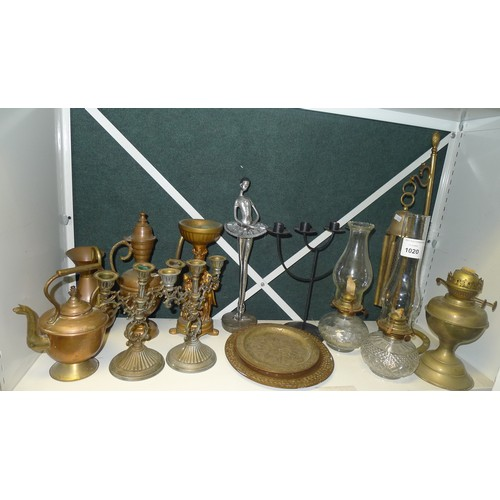 1020 - Various oil lamps and a quantity of miscellaneous decorative copperware, brass ware and silver-plate...