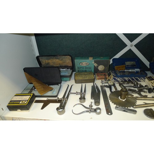 1036 - A small quantity of miscellaneous vintage precision tools & instruments including; micrometers, call...