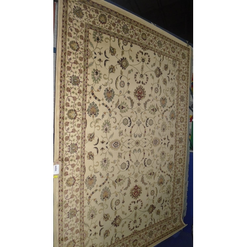 4498 - A light brown traditional style rug approx 160x235cm...