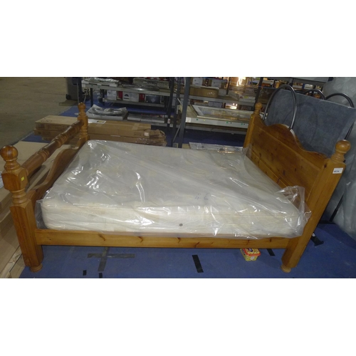 4634 - A used pine 4ft 6 inch double bed with mattress...