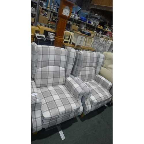 186 - 2 grey tartan upholstered reclining arm chairs...