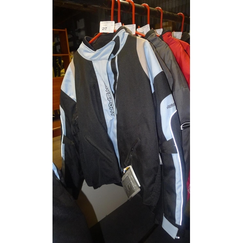 217 - A baby blue women's motorcycle jacket size 14 by AGV Sport retails at approx £150...
