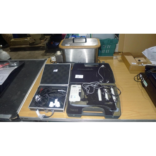 32 - A quantity of various items including a stainless steel wax melting pot, an LED headlight and a supe...