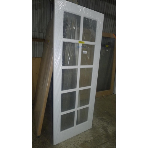 2029 - 1 Shaker primed interior door with 10 panes of glass fitted approx 1981mm x 762mm