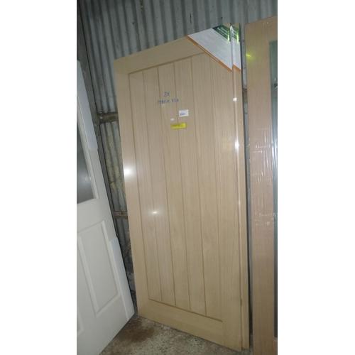 2031 - 2 JB Kind Thames solid Oak internal doors each approx 1981mm x 833mm