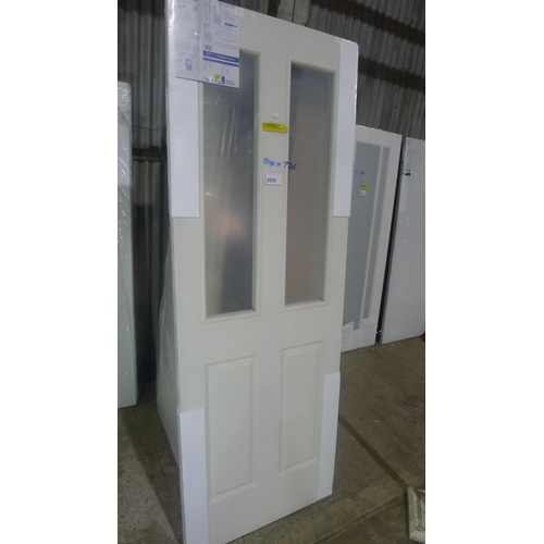 2035 - 1 XL Joinery Victorian white moulded internal door with 2 panes of glass fitted approx 1981mm x 726m...
