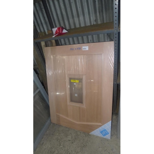 2043 - A two part exterior stable door by LPD with 1 glass sealed unit fitted in top part, approx 1981mm x ...