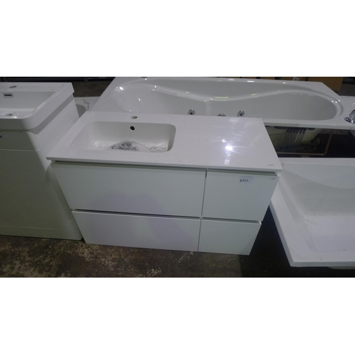 2117 - 1 wall hung white gloss vanity unit with a white resin basin approx 100cm wide...