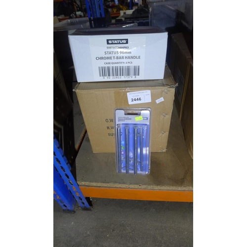 2446 - 10 boxes of Status 96mm chrome T bar handles. Each box contains 3 packs of 4 handles....