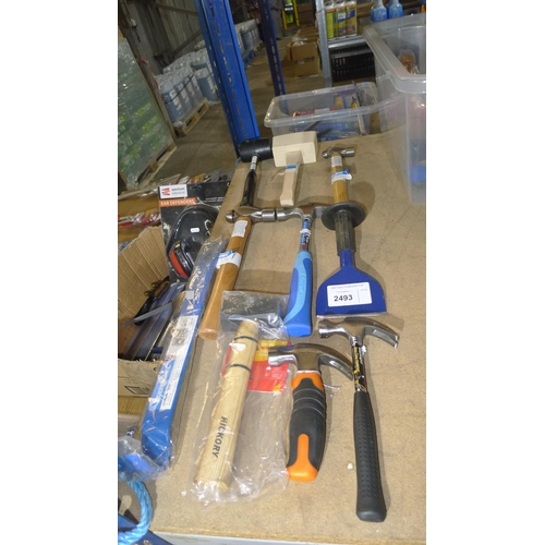 2493 - 10 tools comprising 3 different size claw hammers, 2 different size ball pein hammers, 1 x 1kg club ...
