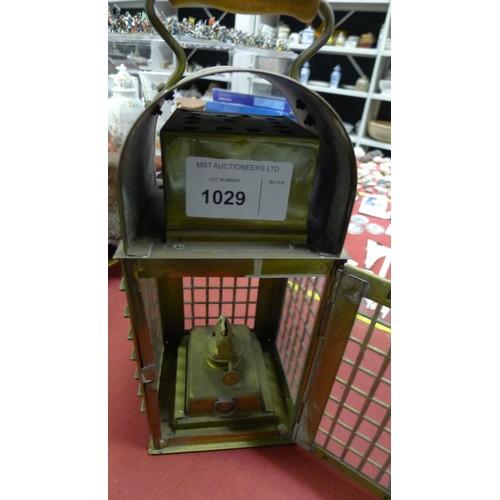 1029 - A decorative brass cage lantern