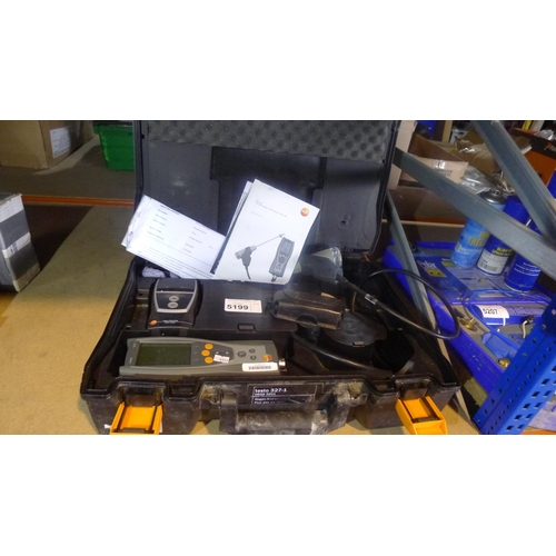5199 - A Testo 327-1 gas analyser supplied in a carry case with various accessories including a probe, a Te...