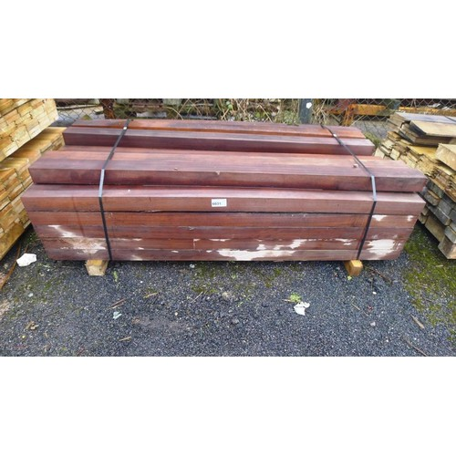 6031 - A quantity of tropical hardwood Iroko lengths comprising of 26 at approx 10cm x 7cm, 10 at approx 20...