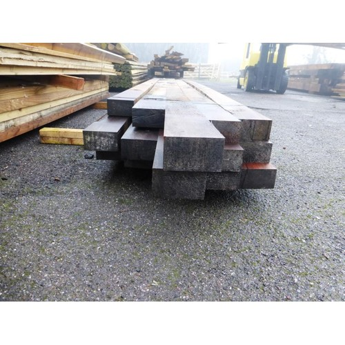 6057 - 15 lengths of tropical hardwood each approx 12cm x 7cm and lengths vary slightly but mainly approx 4...