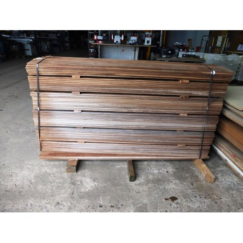 6088 - A quantity of approx 260 tropical hardwood Iroko tongue & groove boards each at approx 12cm x 1.5cm ...
