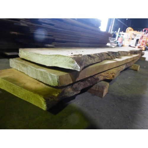 6090 - 3 sawn Oak boards including burr oak. These boards have waney edges so hard to measure exactly but a...