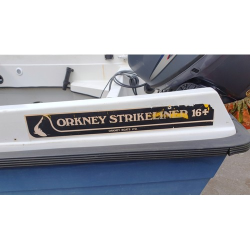 5427 - ORKNEY Strikeliner 16+ fast fishing boat 1996, with Yamaha 25HP four stroke High Thrust Outboard 200...