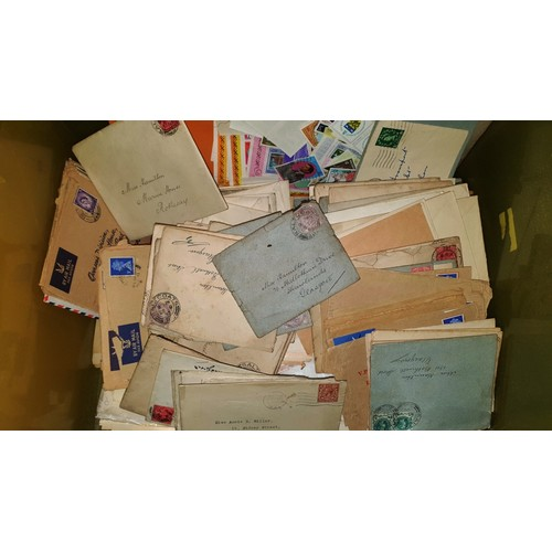 1001E - 2  boxes of Loose Stamps & envelopes