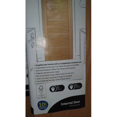 2012 - 2 XL Joinery pre-finished Oak Portici fire doors, 1 approx 1981mm x 762mm and 1 approx 1981mm x 686m...