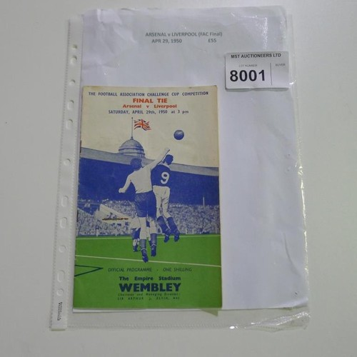 8001 - 1 Arsenal v Liverpool FA Cup Final football programme April 29th 1950. Please see photograph for mor...