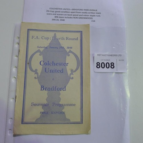 8008 - 1 Colchester United v Bradford Park Avenue FA Cup tie football programme January 24th 1948. Please s...