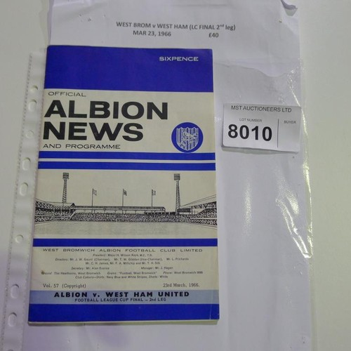 8010 - 1 West Brom v West Ham League Cup final 2nd leg football programme March 23rd 1966. Please see photo...