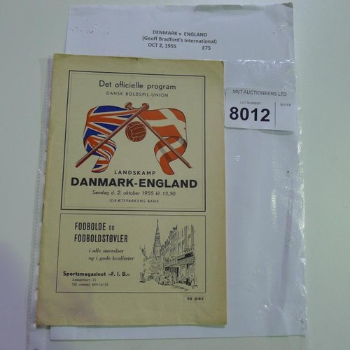 8012 - 1 Denmark v England football programme October 2nd 1955. Please see photograph for more detail....