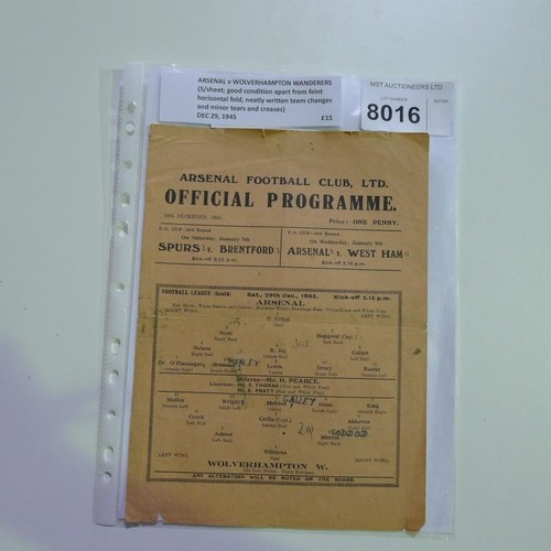 8016 - 1 Arsenal v Wolverhampton Wanderers football programme December 29th 1945. Please see photograph for...