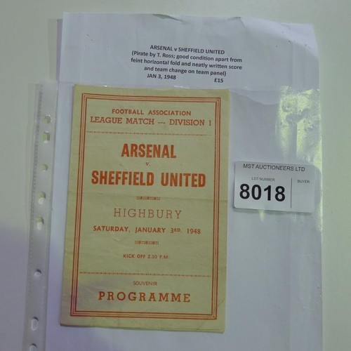 8018 - 1 Arsenal v Sheffield United football programme (pirate by T Ross) January 3rd 1948. Please see phot...