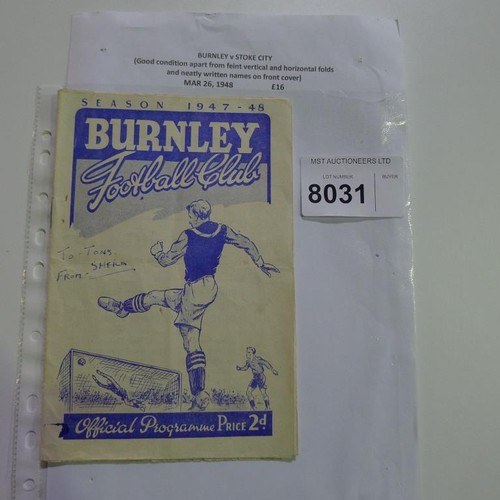 8031 - 1 Burnley v Stoke football programme March 26th 1948. Please see photograph for more detail....