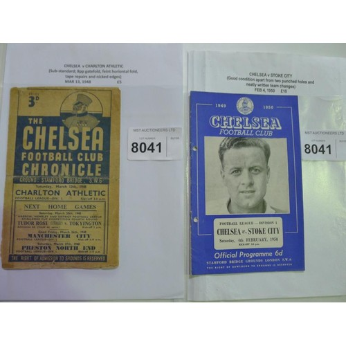 8041 - 2 Chelsea football programmes comprising Chelsea v Charlton Athletic March 13th 1948 and Chelsea v S...