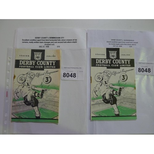 8048 - 2 Derby County 1940s football programmes comprising Derby County v Huddersfield October 22nd 1949 an...